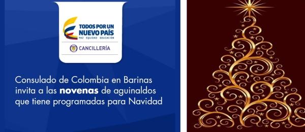 Consulado de Colombia en Barinas invita a connacionales a participar en las novenas de aguinaldos que tiene programadas para esta Navidad
