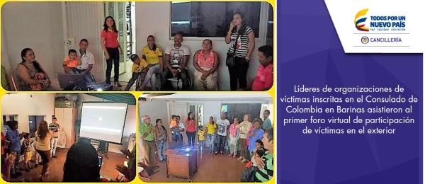 Líderes de organizaciones de víctimas inscritas en el Consulado de Colombia en Barinas asistieron al primer foro virtual de participación de víctimas en el exterior
